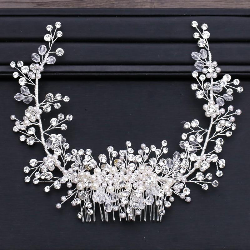 Luxury Big Bridal Hair Comb Crystal Wedding Hair Side Combs Headpiece Rhinestone Pearls Flower Bride Hair Accessories Hair Clips все цены