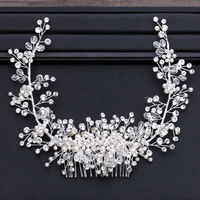 Luxury Big Bridal Hair Comb Crystal Wedding Hair Side Combs Headpiece Rhinestone Pearls Flower Bride Hair Accessories Hair Clips