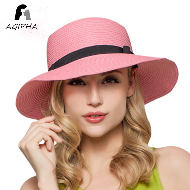 ef46a7761790e Straw Paper Summer Hats For Women Ladies Floppy Wide Brim Sun Hat Female  Fashion Bow Band Sunscreen Beach Caps Type AG35 2018