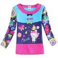Девушки одежда детей футболки цветочный вышивка 2015 новый бренд нова детская одежда хлопка с длинным рукавом футболки для девочек F6128Y