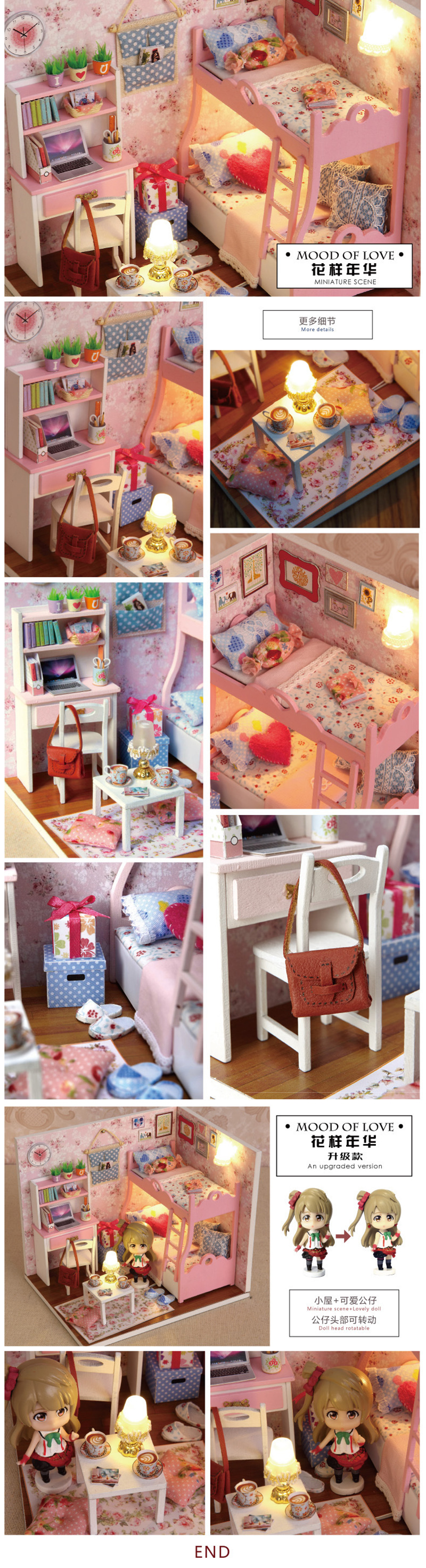 Diy doll house pattern time girl manual creative model manually building toy for her birthday 10
