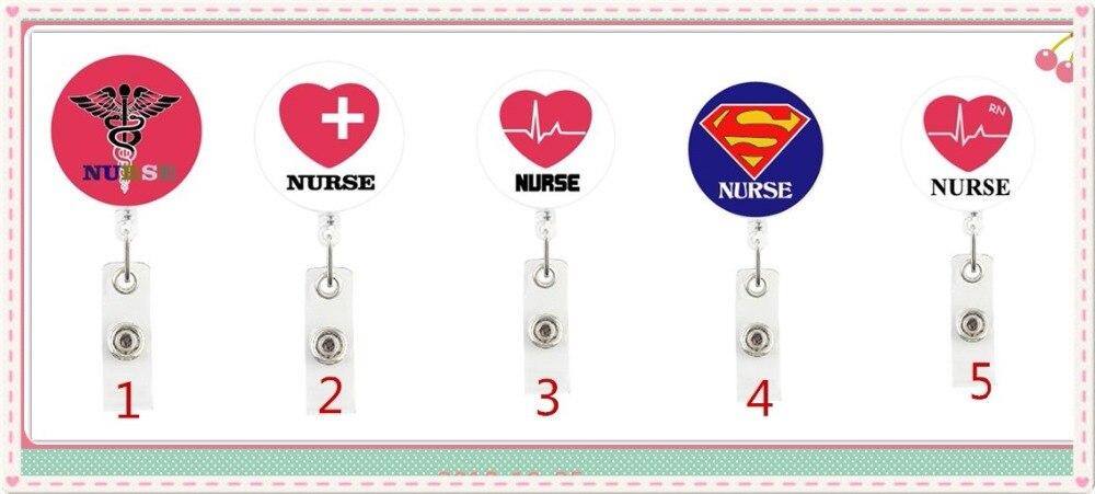 1x Caduceus ID Badge Reel Holder Clip Holder Retractable Nurse Cute RN Medical