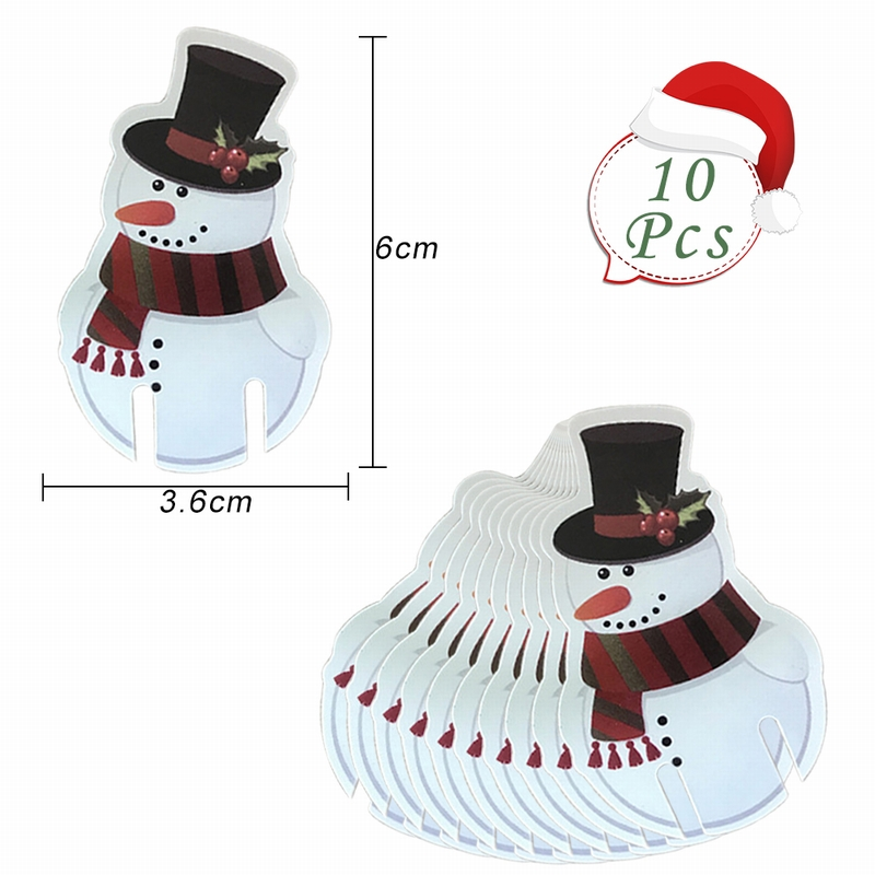 132823744ed 10PCs Xmas Hat Santa Claus Snowman Card Christmas Red Wine Glass Card Paper  Christmas Decoration New Year Wine Glass Card-in Party DIY Decorations from  Home ...