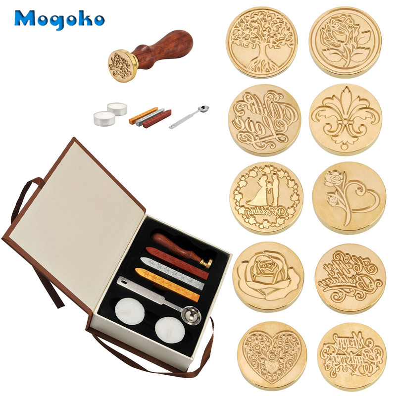 Mogoko New Hot Selling Vintage Sealing Stamp With Seal Wax Sticks without Wicks Spoon Candles Kit Set Have 10 Patterns Optional new 220v photosensitive portrait flash stamp machine kit self inking stamping making seal holder film pad no ink