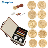 Mogoko New Hot Selling Vintage Sealing Stamp With Seal Wax Sticks without Wicks Spoon Candles Kit Set Have 10 Patterns Optional