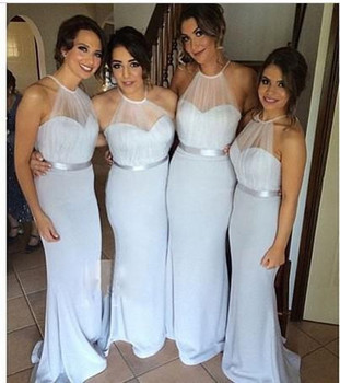 Shining Halter Neck 2016 Floor Length Long Sliver Turquoise Bridesmaid Dresses Long Bridesmaid Dress