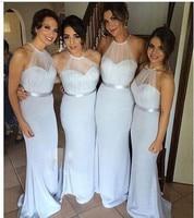 Shining Halter Neck 2016 Floor Length Long Sliver Turquoise Bridesmaid Dresses Long Bridesmaid Dress