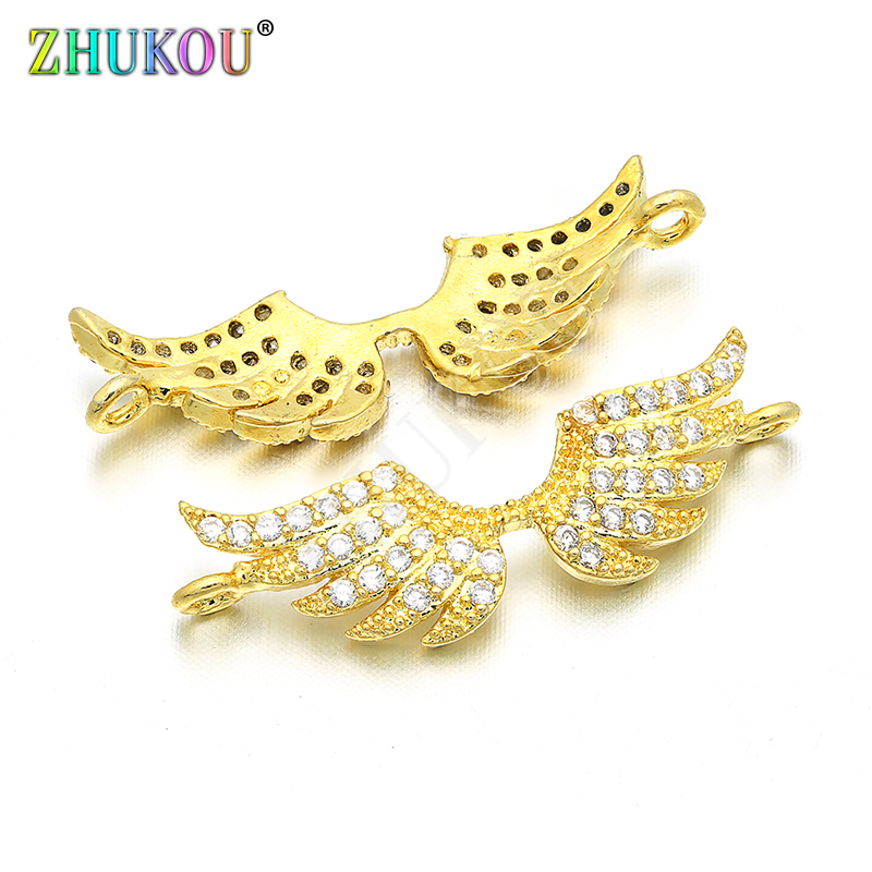 25*10mm Brass Cubic Zirconia Wing Charms Connector DIY Jewelry Bracelet Necklace Making, Model: VS15