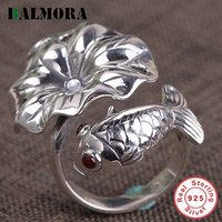BALMORA 925 Sterling Silver Lotus Leaf & Fish Open Rings for Women Lady Party Vintage Fashion Ethnic Jewelry Anillos SY22643