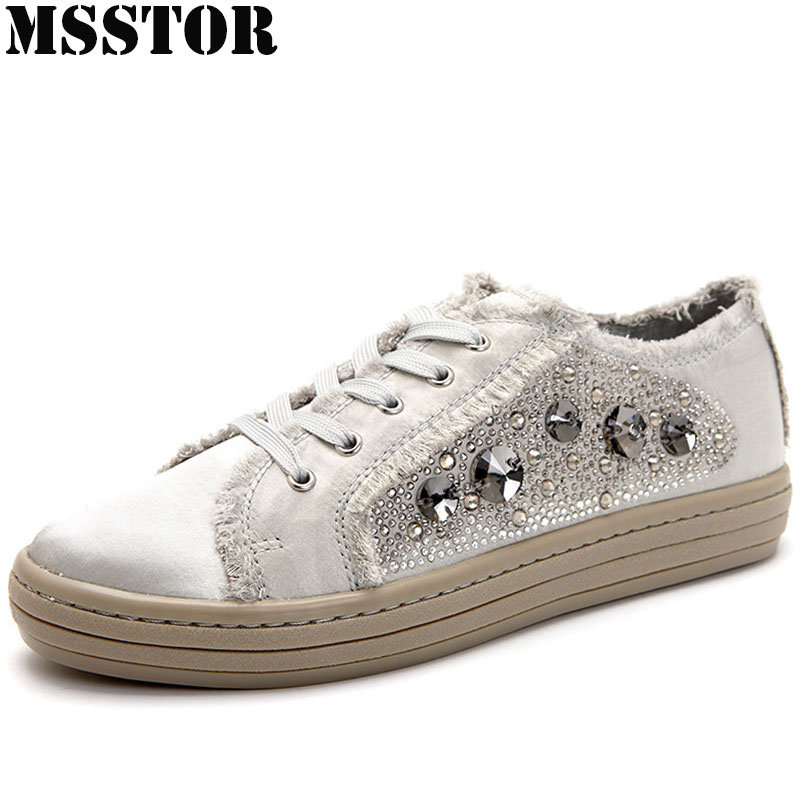 MSSTOR 2018 Women's Skateboarding Shoes Summer Breathable Flat With Canvas Shoes Woman Brand Walking Sport Shoes Women Sneakers msstor retro women men running shoes man brand summer breathable mesh sport shoes for woman outdoor athletic womens sneakers 46
