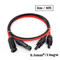 1pair X 2.5mm2 14AWG 9FT 3m MC4 Connector Extension Connect branch black parallel Series 3 meter extend cable