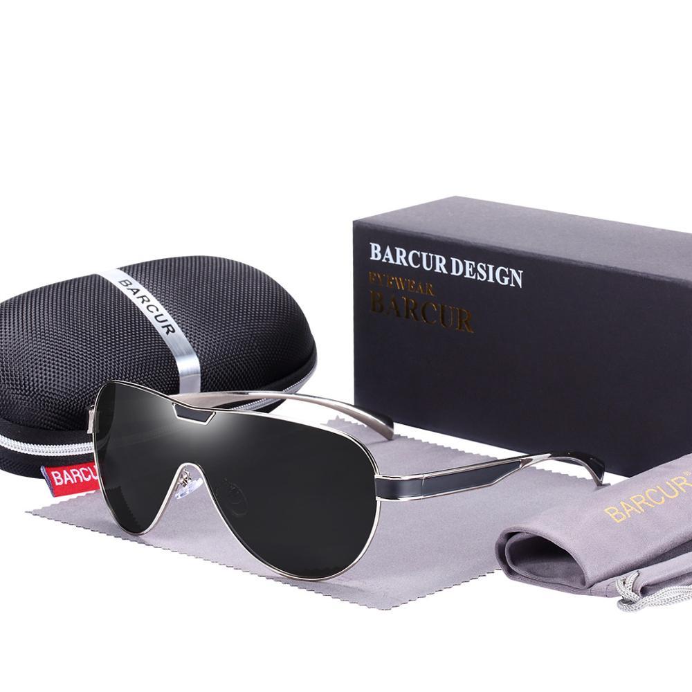 Sports Branded Polarized Sunglasses Silver Grey