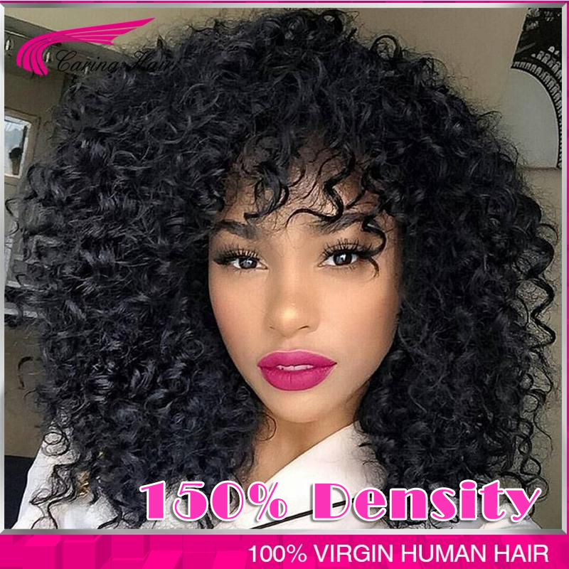 7A 150% Glueless Brazilian Human Hair kinky Jerry Curly Full Lace Wigs For Black Women Virgin Cheap Jerry Curl Lace Front Wigs