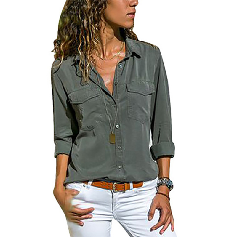 5c6ac9c5219 Рубашка Женская мода с длинным рукавом отложной воротник Для женщин блузка  Новая 5XL плюс Размеры Повседневное