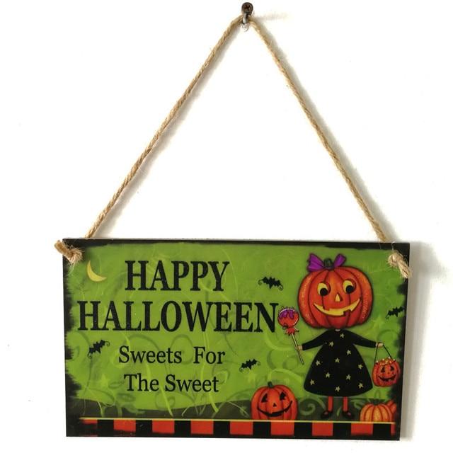 1PCS Wooden Happy Halloween Pumpkin Hanging Plaque Wall Door Home Rooms Store Hanging Hangtag Decoration Halloween Supplies