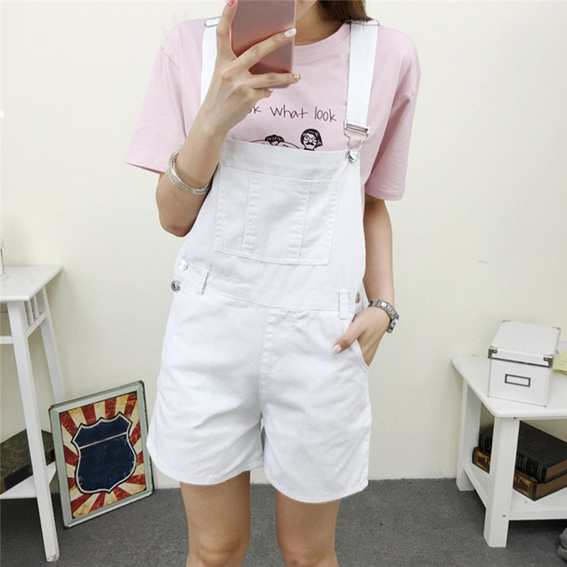 Girl High Waist Denim Shorts Women Suspender Trousers New Summer Lady Female Jumpsuit Loose Casual Short Jeans Feminino