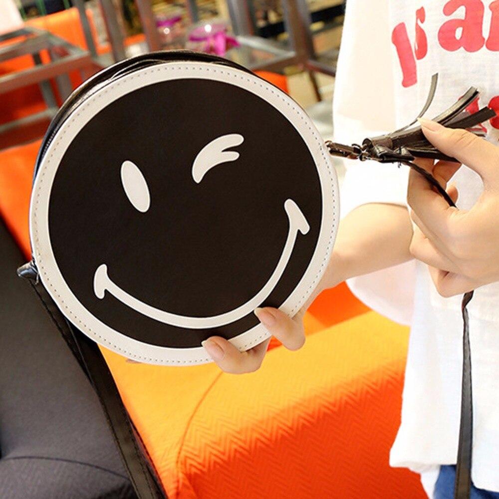 Mujeres de la manera Bolso de la Historieta Smiley Emoji Impreso Ronda Cruz cuer