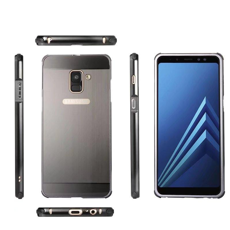 Модные Матовый акриловый сзади Алюминий съемный металлический каркас 2 в 1 противоударный чехол для samsung Galaxy A8 плюс 2018 Fundas