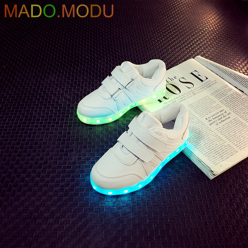 7 Colors Kids LED Shoes 2018 New Autumn Sports Children Growing Sneakers For Boys Girls Luminous Lights Shoes Solid size 25~36 ...