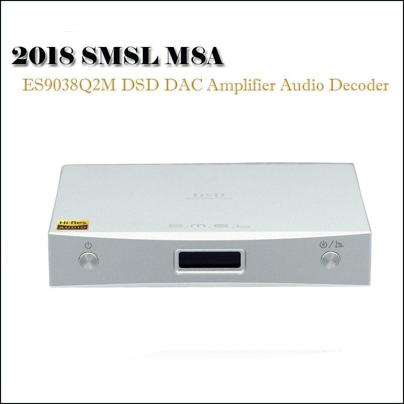 SMSL M8A DAC Audio Accueil Amplificateur Décodeur DSD DAC ES9028Q2M Amplificateurs XMOS Xu208 Hifi DAC USB Optique Coaxial Entrée Amp