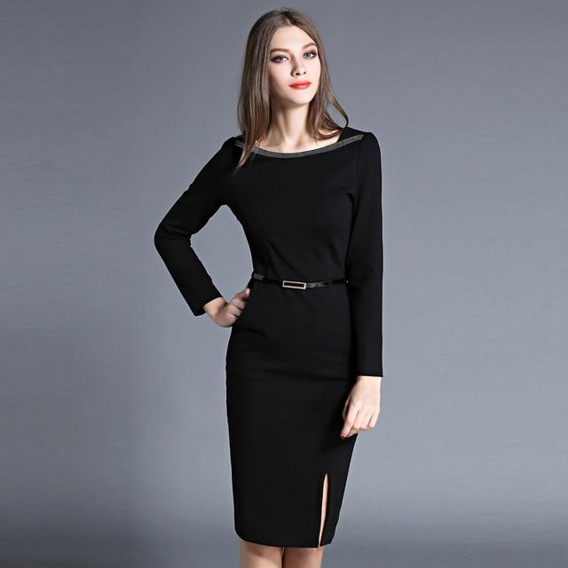 Autumn New Arrival Women Pencil Dress Ladies Sexy Split Black