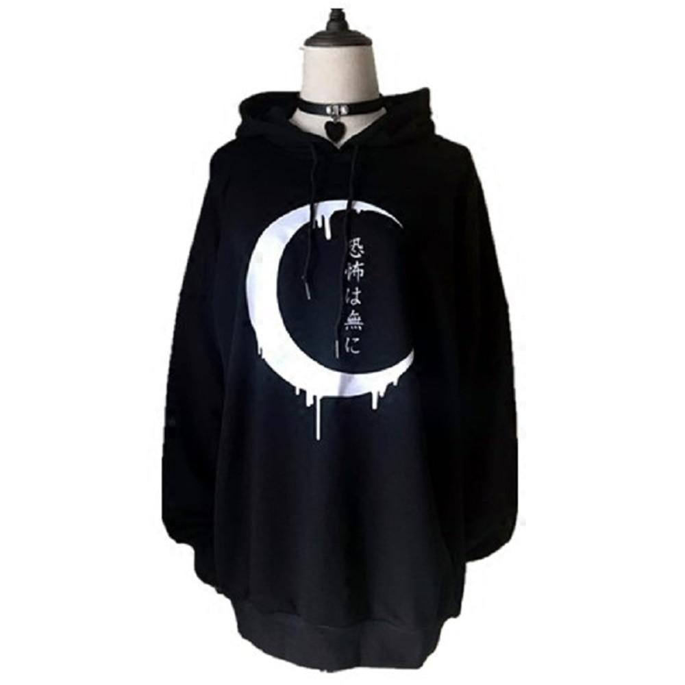 2019 Autumn Winter Fleece Women Black Hoodie Sweatshirt Loose Punk Harajuku Hooded Moon Japanese Print Street Casual Girl Hoodie
