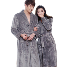 New Style Lovers Silk Soft Flannel Long Kimono Bath Robe Men Waffle Winter Bathrobe Mens Robes Dressing Gown Nightgowns for Male cheap RUILINGSHA CN(Origin) Regular Sleeve Full Sleeve Polyester Knitted Solid Men Women Superfine Silk Flannel Robes-3 Shawl Collar