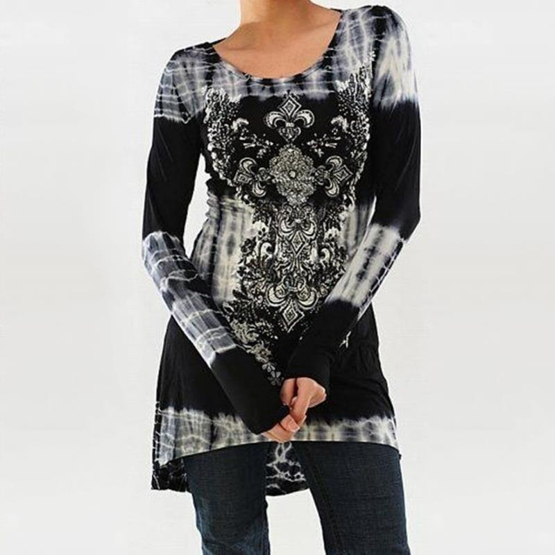 S 5XL Large Loose T Shirt Women Autumn T Shirt Long Sleeve O Neck Printed Tees