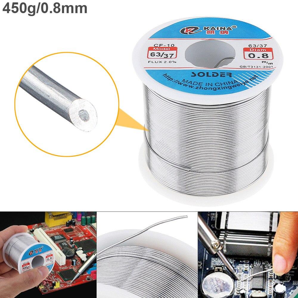 63/37 450g 0.8mm Tin Piombo Filo Core Rosin Saldatura A Filo con 2% Flux e A Basso Punto di Fusione per di saldatura di Saldatura Elettrica del Ferro