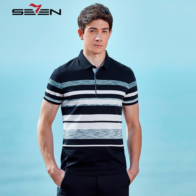 Seven7 2019 marque été hommes bleu blanc rayé polos à manches courtes Slim coton Design Camisa hauts XXXL 4XL 114T50270