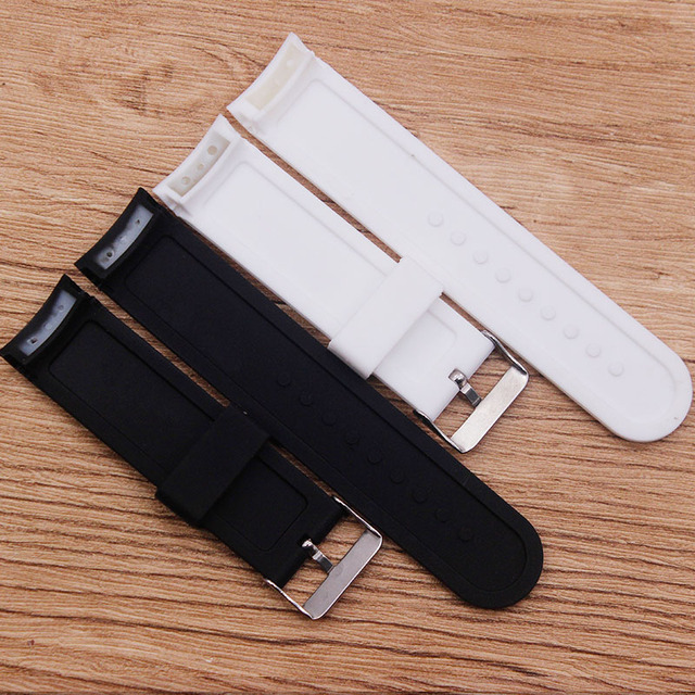 Watch accessories rubber silicone watch elbow 24MM waterproof and sweat-proof belt black white rubber belt men's watch belt 4