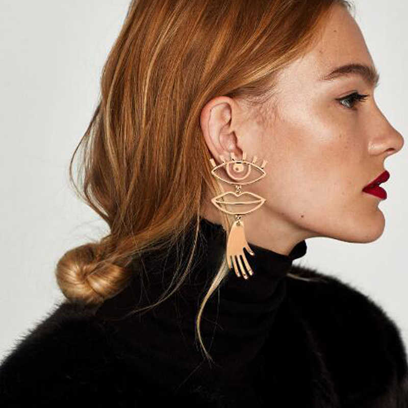SexeMara Abstract Art Gold Color Chic Palm Statement Dangle Earrings Hyperbole Big Eyes Tassel Earring For Women Fashion Bijoux