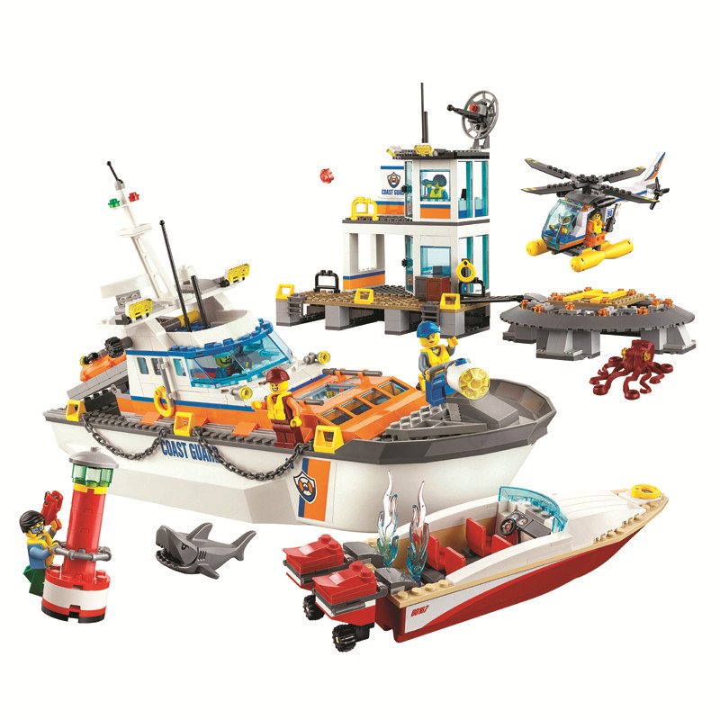 Bela Compatible with legoe 855pcs City Coast Guard Head Quarters building blocks Diy Educational bricks toys gift for children friends city park cafe building blocks toy set diy educational toys figure bricks toys compatible bela 10162 lepins friends 3061