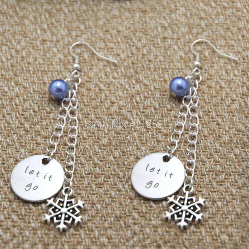 10pairs Let It Go earrings gift earrings Big snowflake charm Elements Crystal earrings
