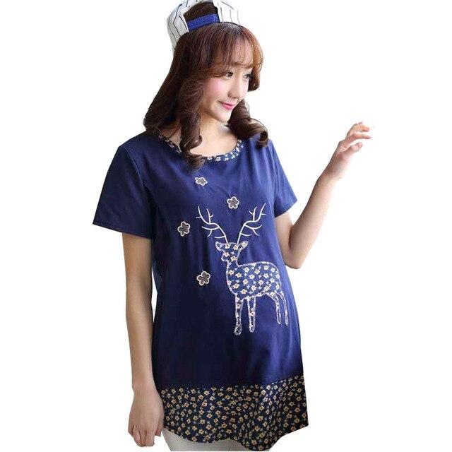 2017 New Summer Short-sleeved Cotton Nursing Top T-shirts Casual Cartoon Print Breastfeeding Tops T shirts Clothing for Feeding