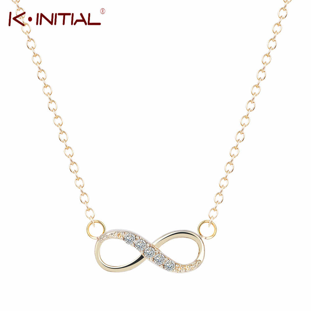 563252568787 Kinitial 10Pcs Wholesale Fashion Tiny CZ Infinity Necklace Color gold silver  Eight Pendants Bridesmaid Jewelry