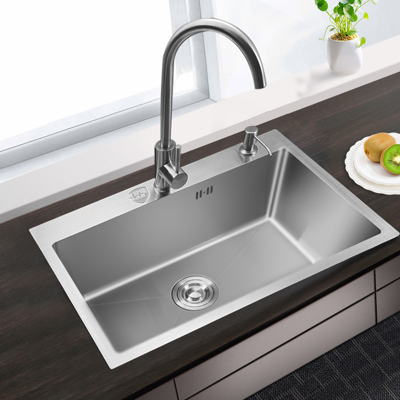 US $129.93 11% OFF|kitchen sink single bowl above counter or udermount  Installation Handmade brushed seamless 304 stainless steel sink kitchen-in  ...