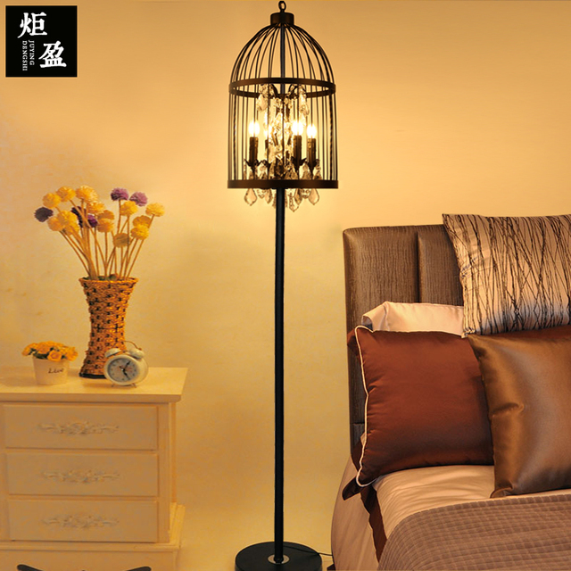 Amerikaanse retro crystal black kleur smeedijzeren kooi vloerlamp ...