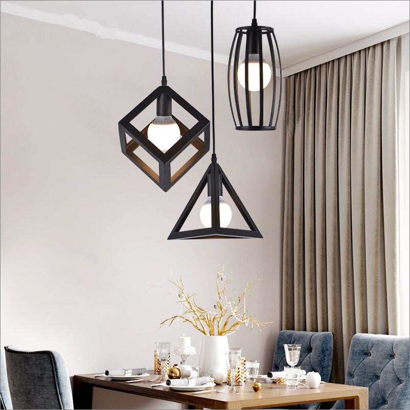 Industrial simple black iron metal dining room kitchen loft bar cafe small pendant lights lamp hanging light fixture 110-240V loft industrial rust ceramics hanging lamp vintage pendant lamp cafe bar edison retro iron lighting