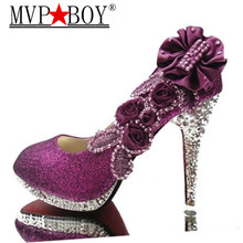 MVP BOY Wedding Shoes Glitter Gorgeous Bridal Evening Party Crystal High Heels Women Sexy Woman Pumps silver