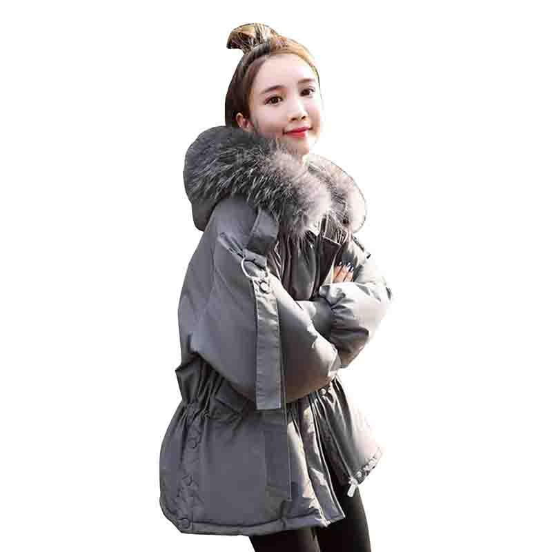 Women Winter Jacket   Down     Coat   2019 Fashion Real Fur Collar Hooded   Down   Parka Outerwear Thick Warm 90% White Duck   Down   Jacket