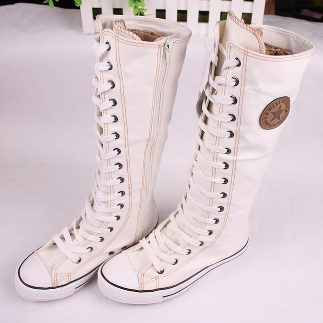 Drop Shipping Fashion Gril's Canvas Shoes Boots Women knee High Canvas Shoes big size 35-43 White black red OA034