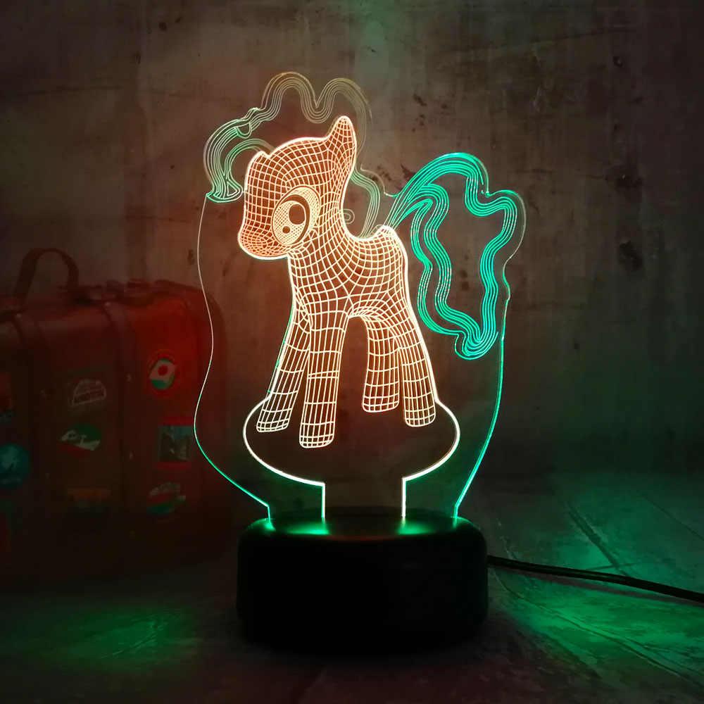 Nouveau mignon mon petit poney 3D LED nuit Lihgt 7 couleur mixte double couleurs cadeau de noël pour enfant lampe de Table nouveauté décor à la maison Lustre
