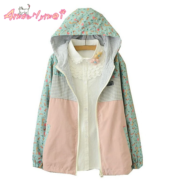 2017 Spring Autumn New Women Jacket Japanese Style Mori Girl Cartoon Print Hooded Two Side Wear Casual Coat Female Outerwear
