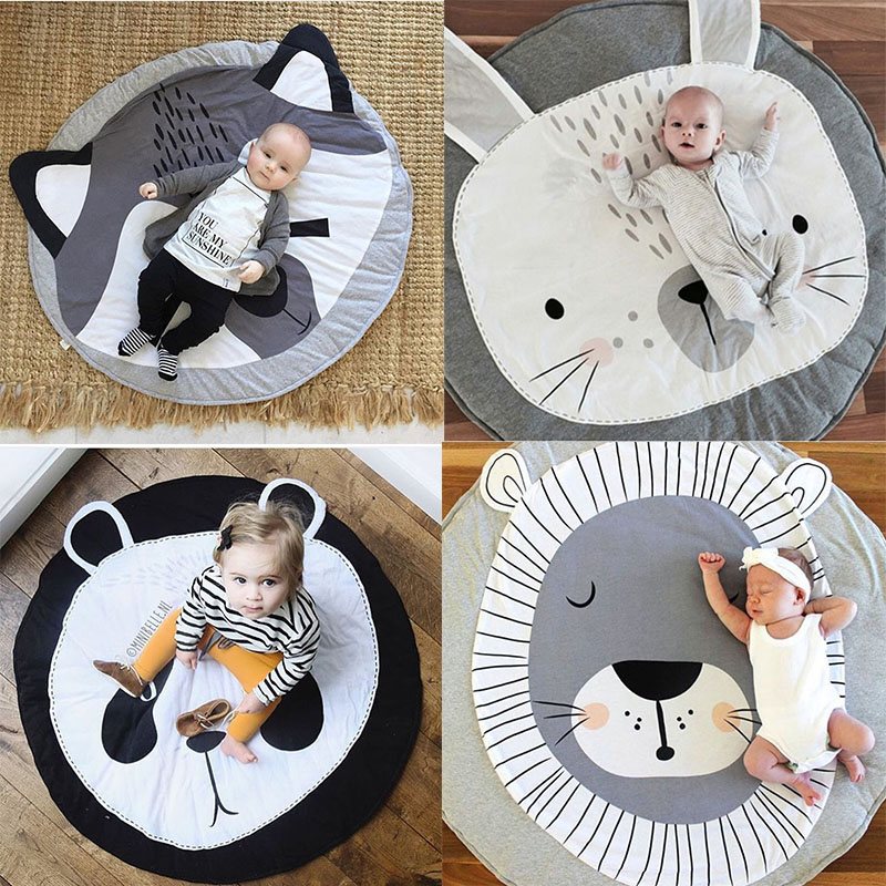 Nordic Cartoon Animals Unicorn Quilted Round Play Mats Baby Developing Blankets Crawling Rug Carpet For Kids Room Decor