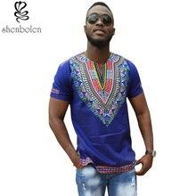 Verão 2017 roupas de outono dos homens de vestuário Africano dashiki knitting costura Batik impressão tops de manga curta camiseta homem