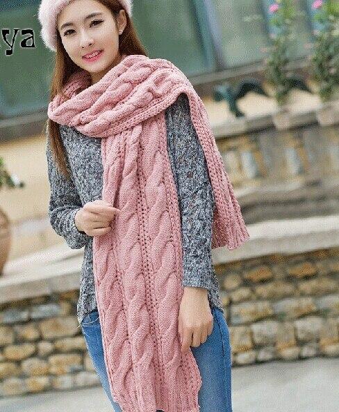 Новый грубых линий корейских женщин длинные зимние дни утолщаются вязаный шарф твист