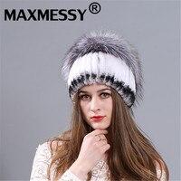 MAXMESSY preto Pele De Coelho Chapéu Feminino Grossas de Inverno Quente Knit Hat Beanie Bonito Chapéu Orelha de Gato Chapéu de Pele das Mulheres