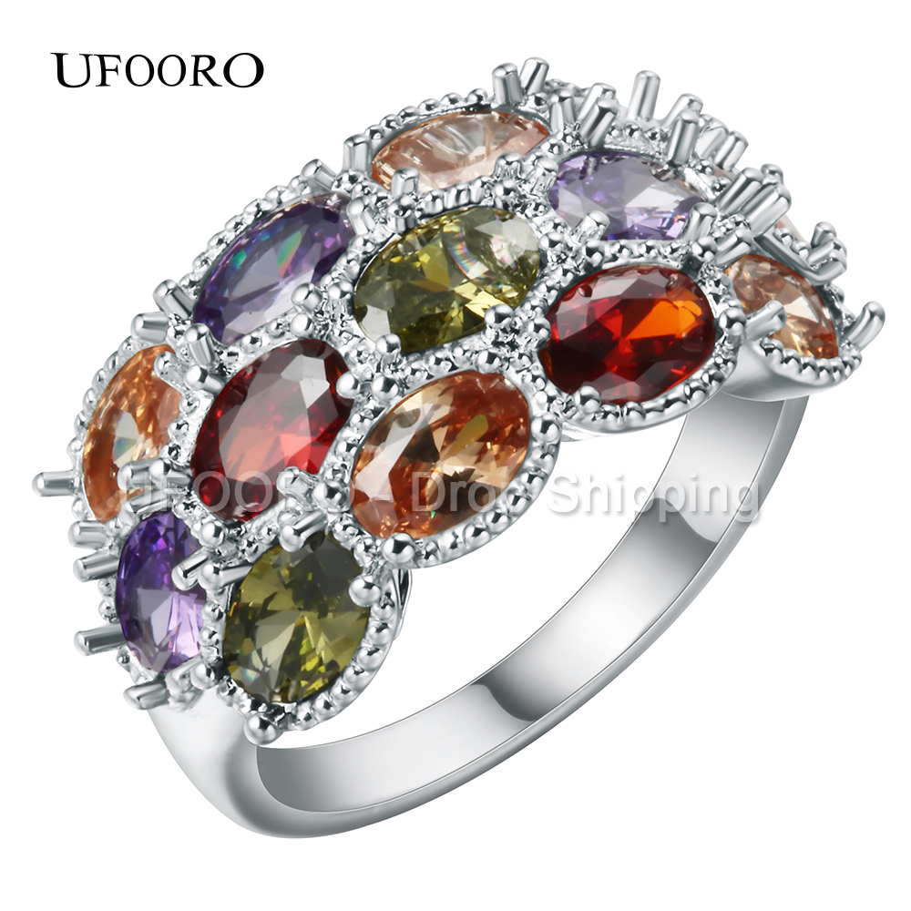 UFOORO rainbow Wedding Rings for Women Luxury silver Plated colourful crystal CZ Zircon Stones Finger ring engagement Jewelry