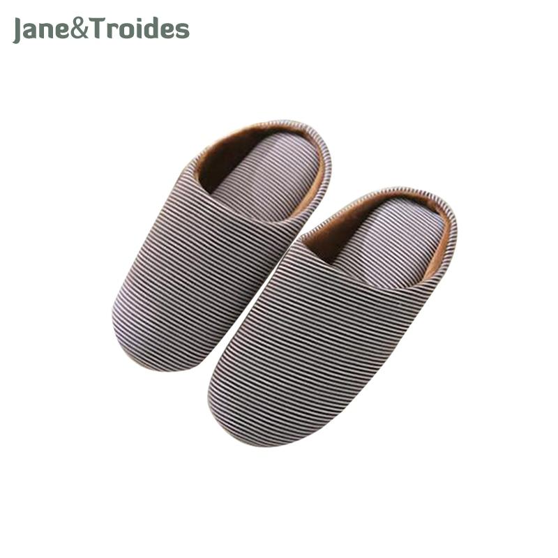 Spring Autumn Cotton Soft Men Slippers Classic Striped Comfortable Flip Flops Anti Slip Indoor Bedroom Slipper